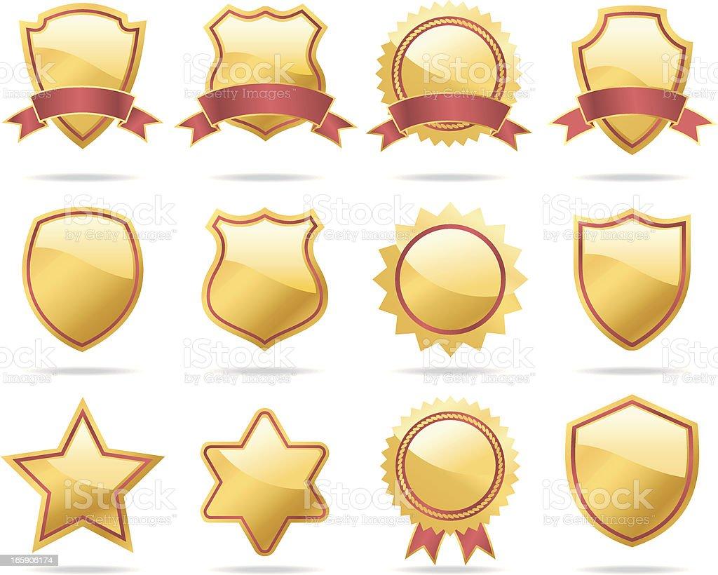 Gold Shields and Badges vector art illustration