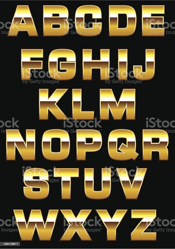 Gold shiny alphabet letters against black background royalty-free stock vector art