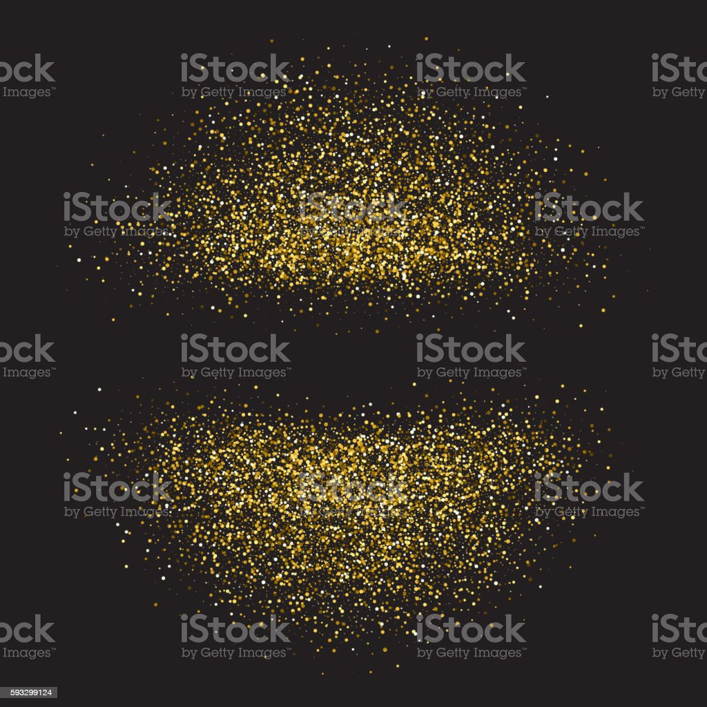 Gold shiny circles on black background vector art illustration