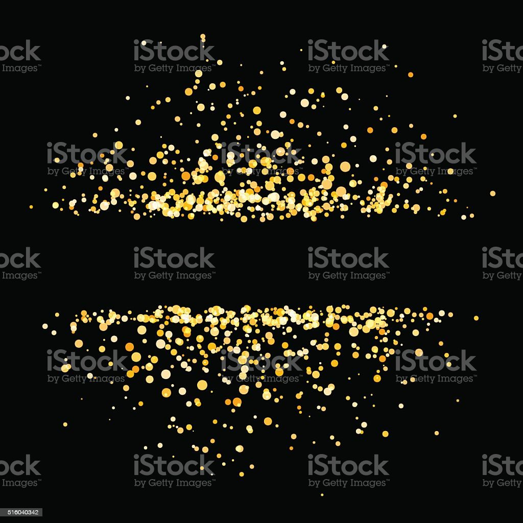 Gold shiny circles on black background with empty place vector art illustration