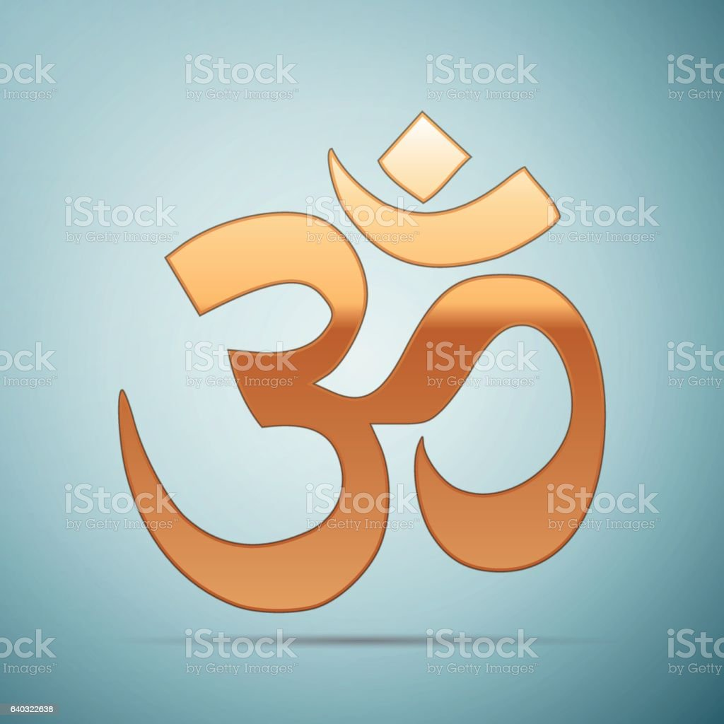 Gold sign Om. Symbol of Buddhism and Hinduism religions icon on blue...