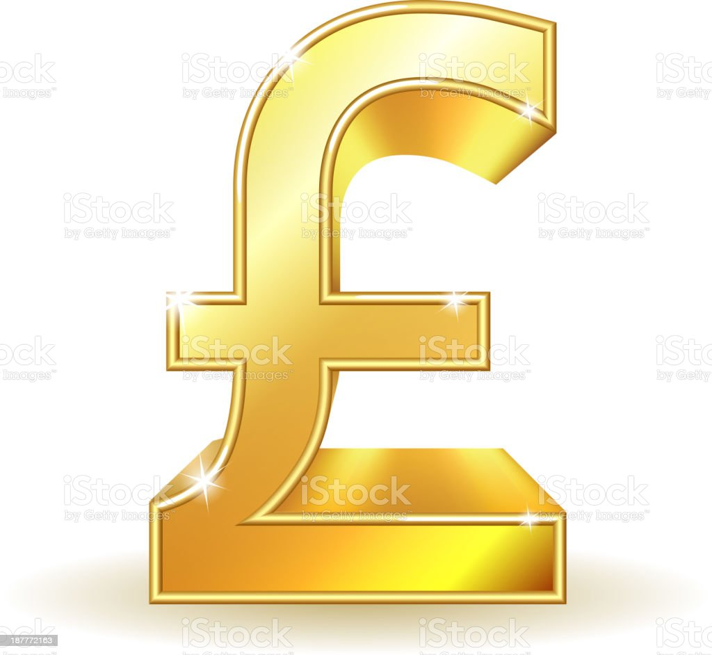 Gold sign pound currency. royalty-free stock vector art
