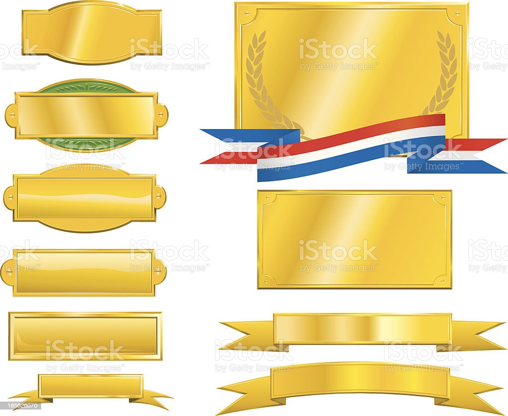 Gold Signs, Plaques and Ribbons vector art illustration