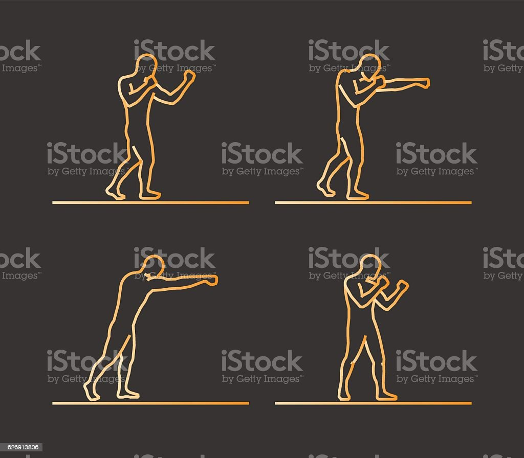 Gold silhouettes of boxing. vector art illustration