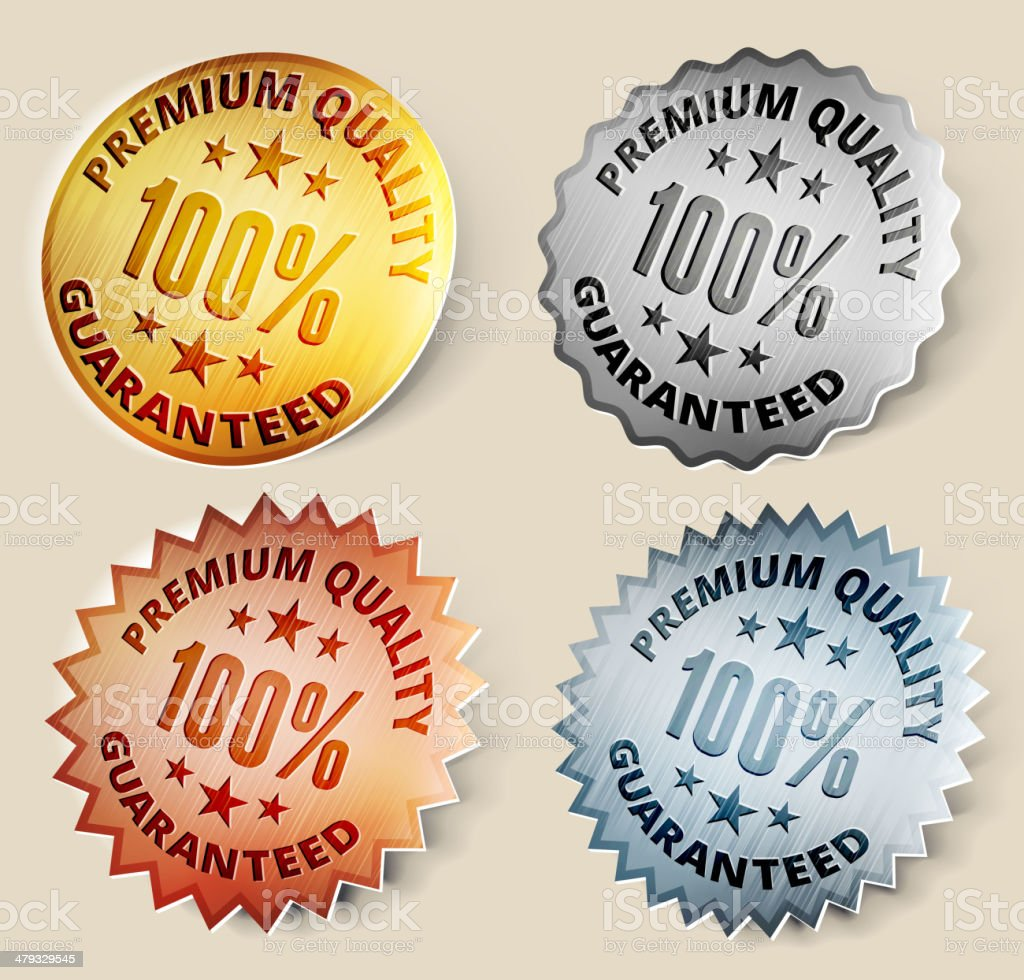 Gold, Silver, and Bronze 100% Premium Quality Medals royalty-free stock vector art