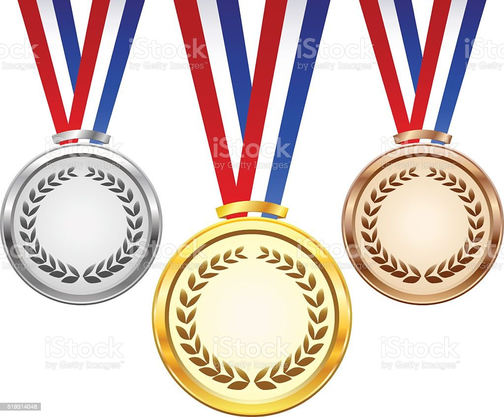 Gold, silver and bronze award medals vector art illustration