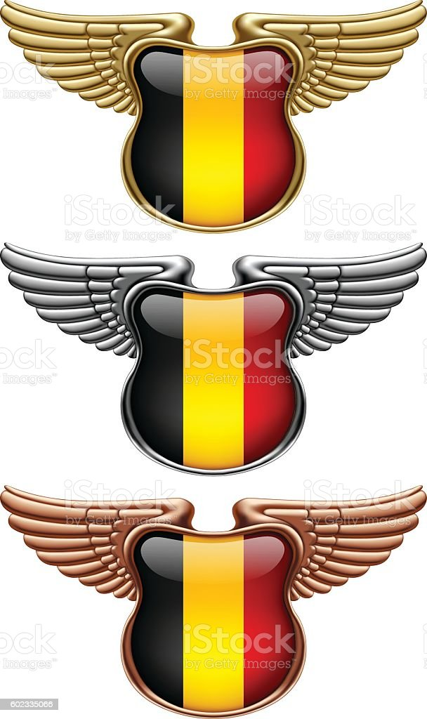 Gold, silver and bronze award signs with wings and Belgium flag vector art illustration