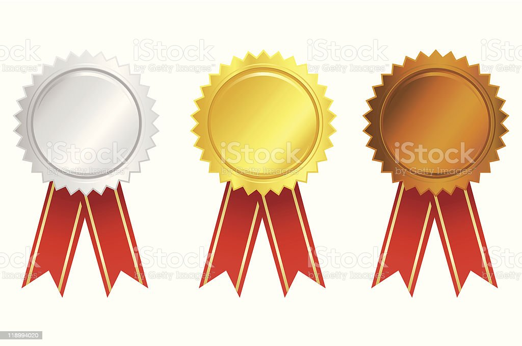 Gold Silver and Bronze Award vector art illustration