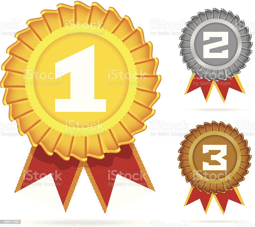 Gold, silver and bronze awards. royalty-free stock vector art