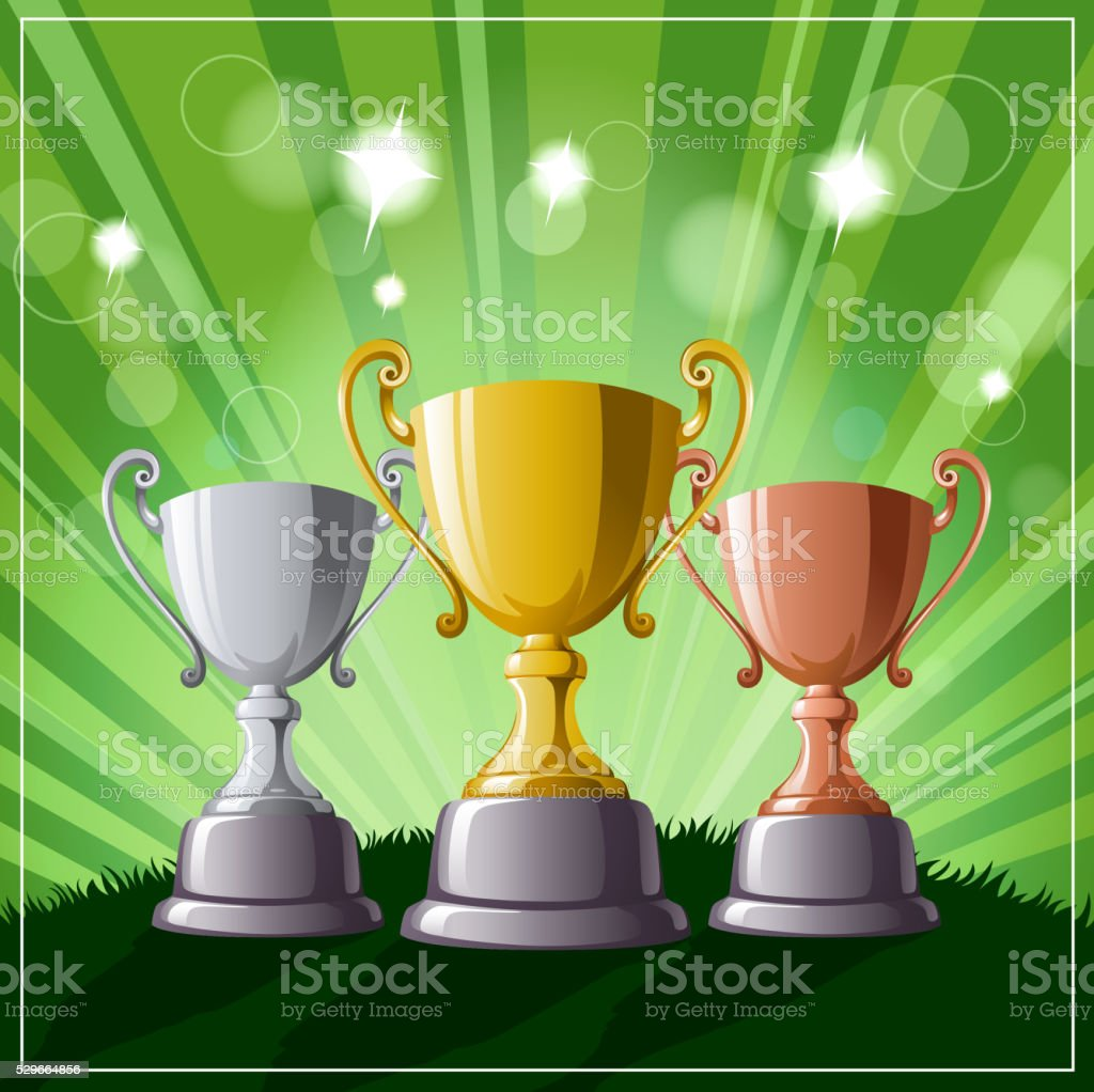 Gold, Silver and Bronze Champions Trophy Set vector art illustration