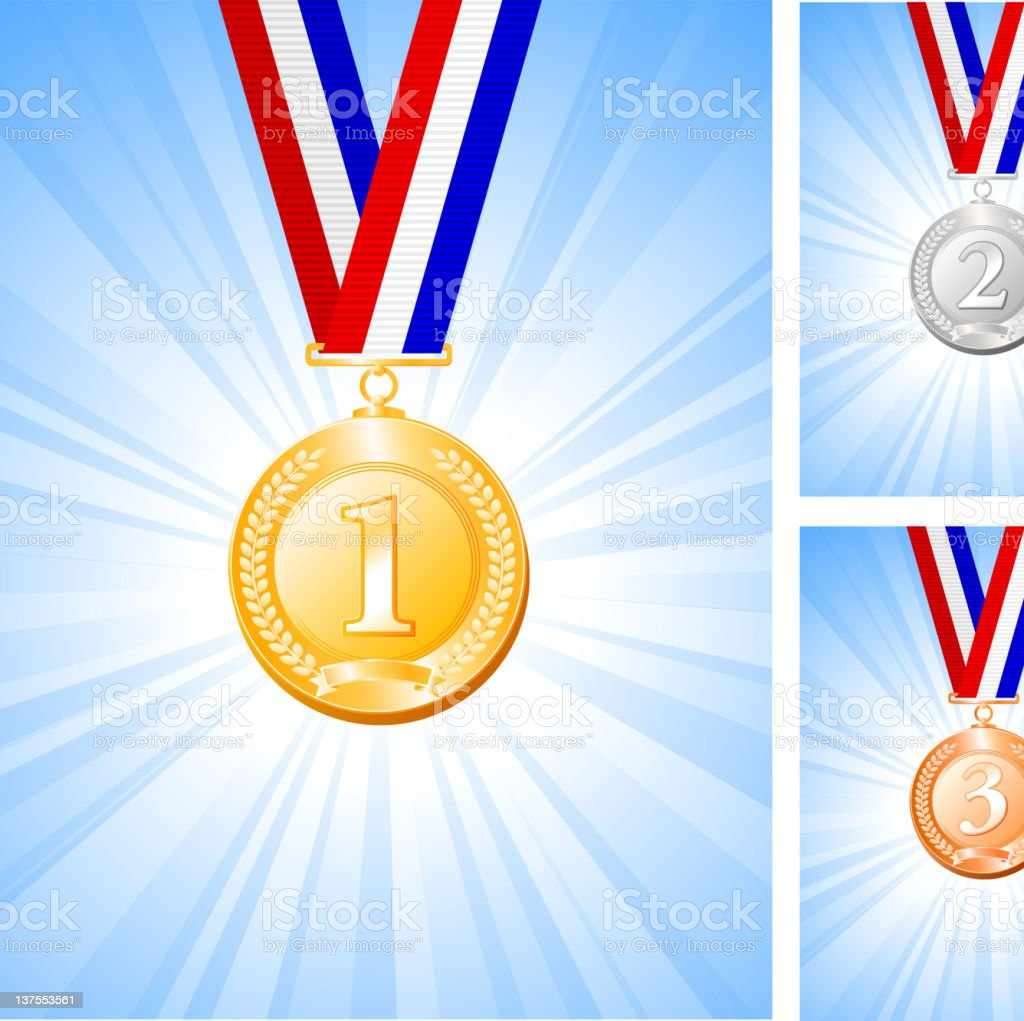 gold, silver and bronze medal on glowing blue Background royalty-free stock vector art