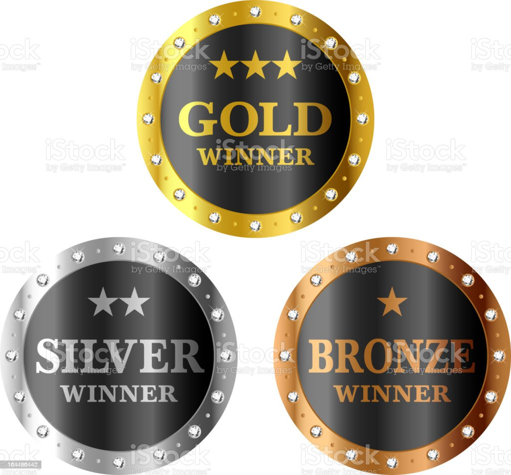 Gold, silver and bronze medal templates vector art illustration