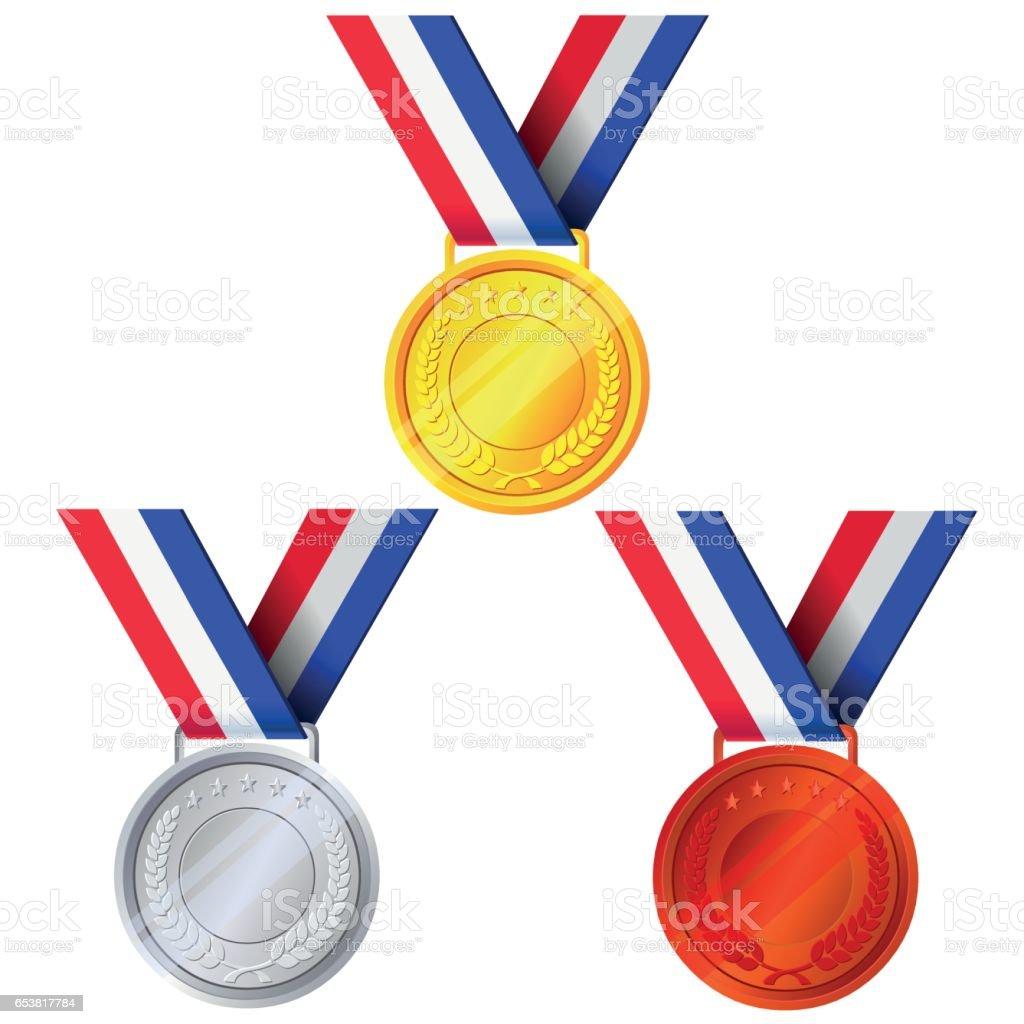 Gold, Silver and Bronze Medals - Illustration vector art illustration