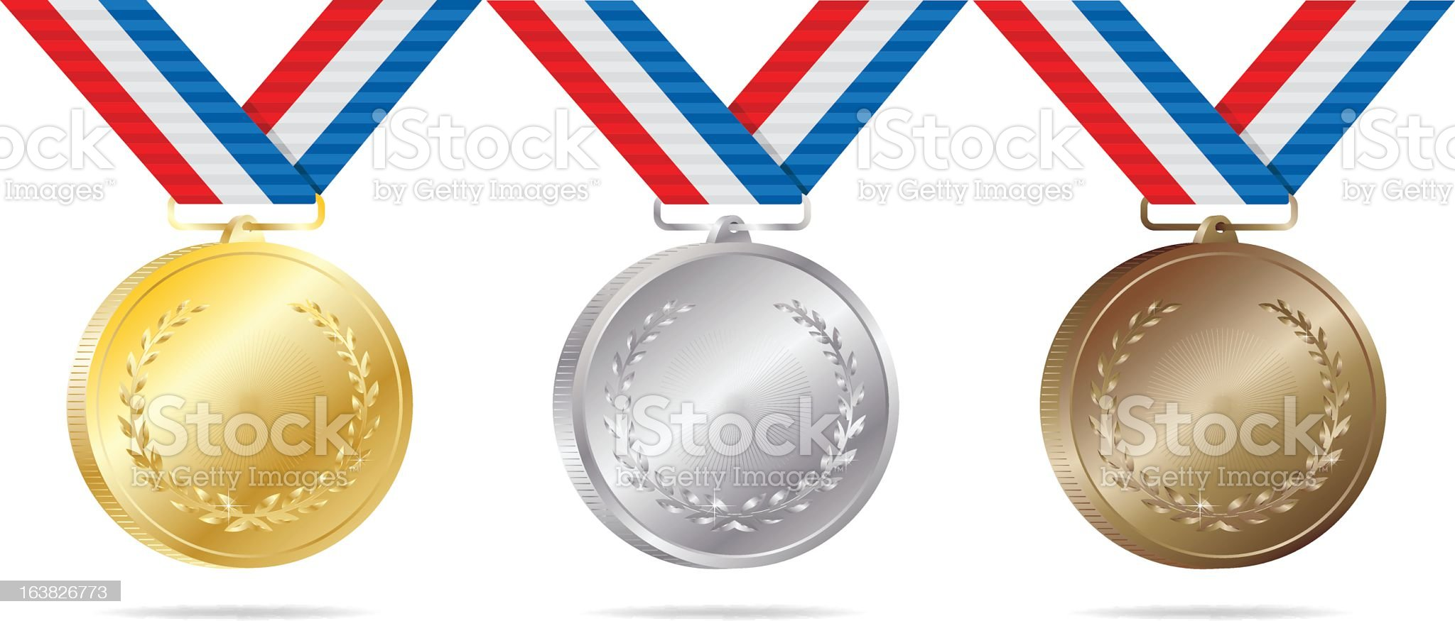 Gold silver and bronze medals on a white background royalty-free stock vector art