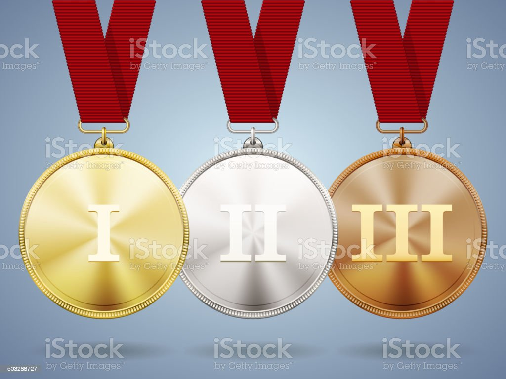 Gold  silver and bronze medals on ribbons royalty-free stock vector art