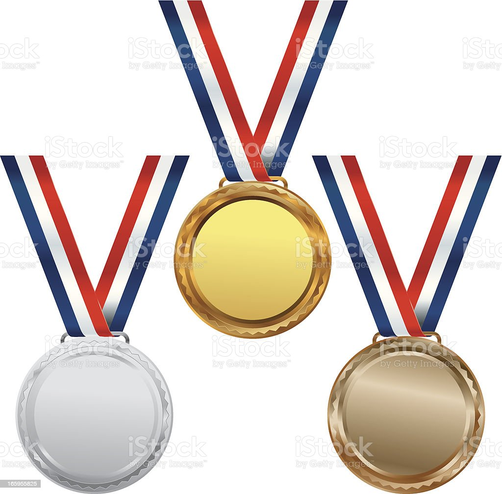 Gold Silver and Bronze Medals royalty-free stock vector art