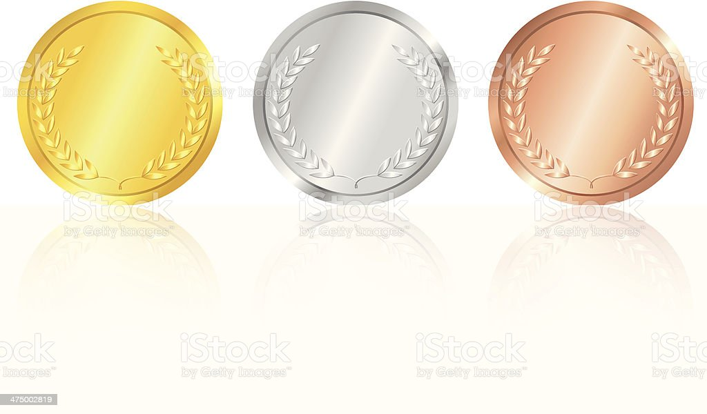 Gold, silver and bronze medals. vector art illustration