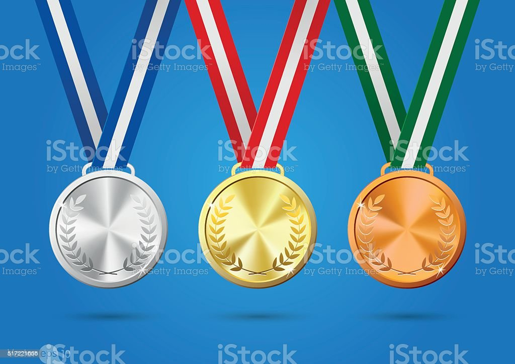 Gold, silver and bronze medals. vector vector art illustration