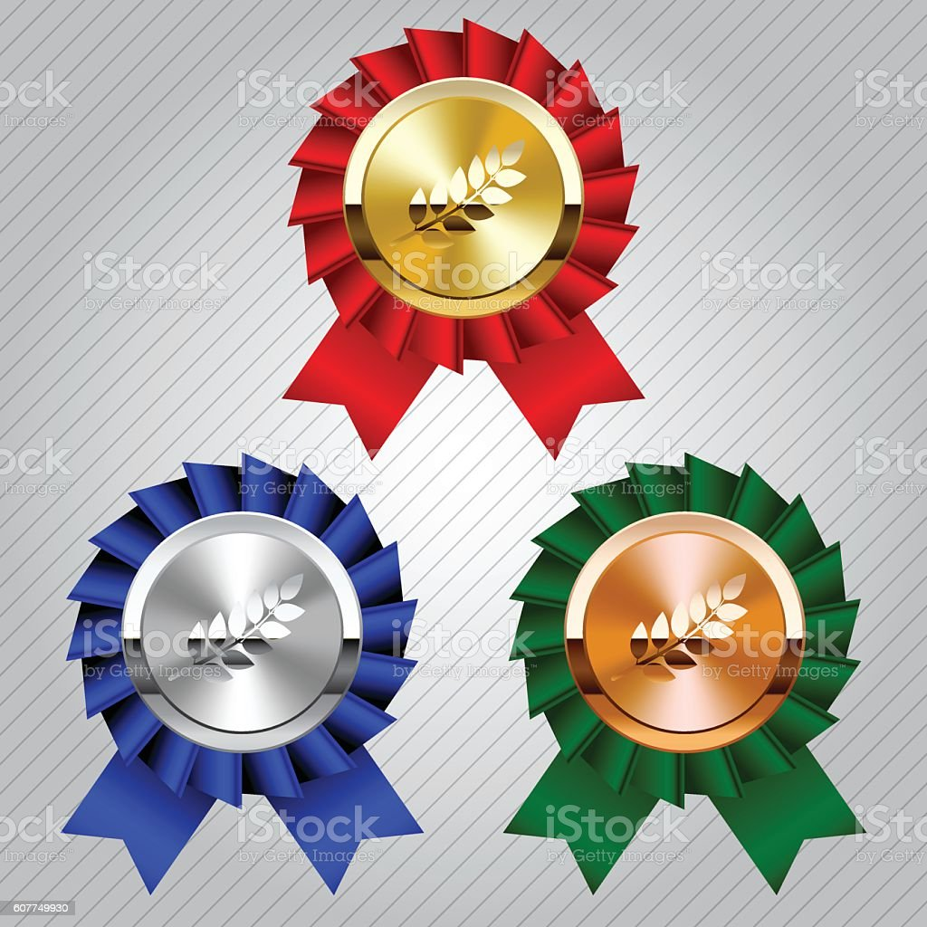 Gold, silver and bronze medals with laurel wreaths vector art illustration