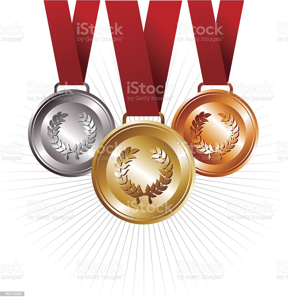 Gold, silver and bronze medals with ribbon royalty-free stock vector art