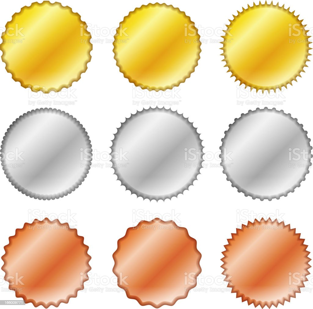 Gold, Silver, and Bronze Round Blank Medals royalty-free stock vector art