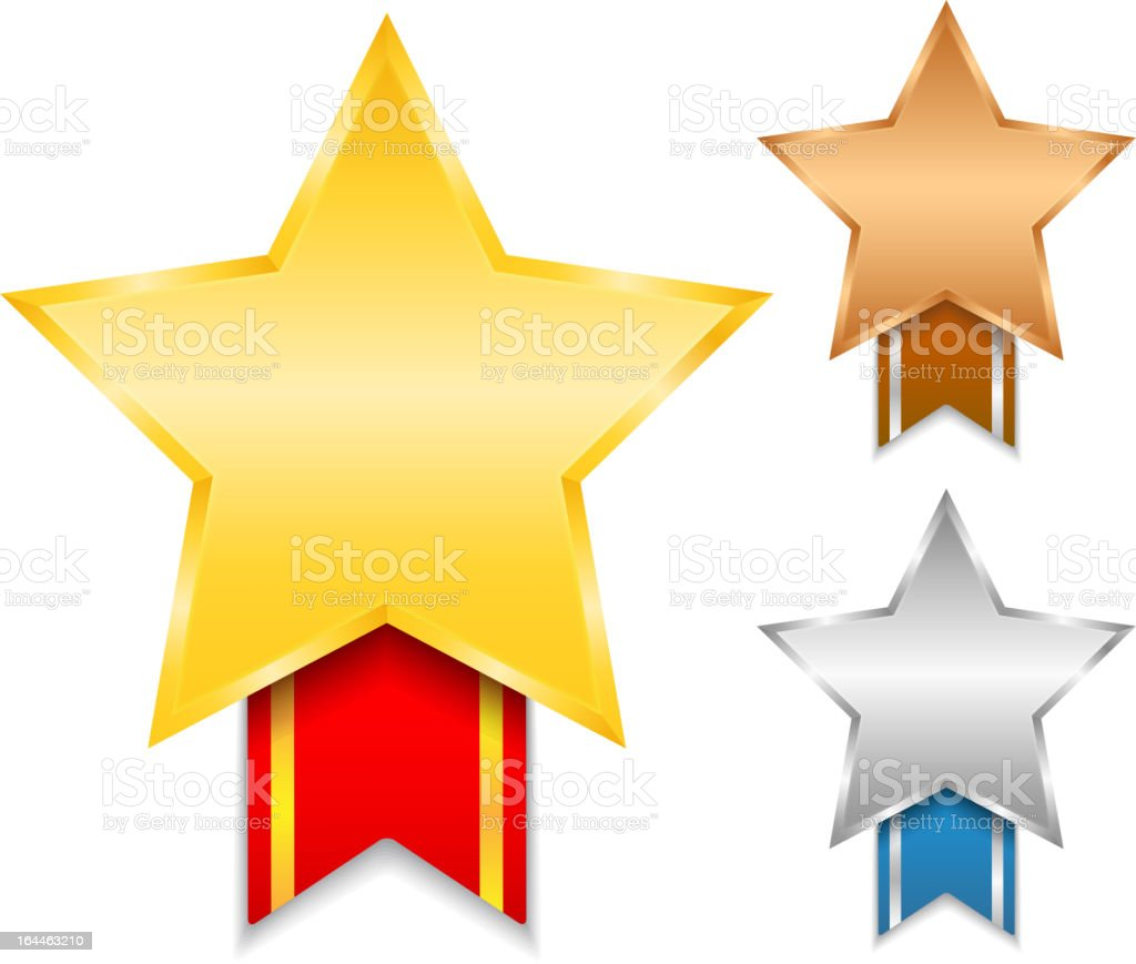 Gold, silver, and bronze stars with ribbons below vector art illustration