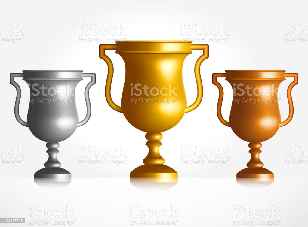 Gold Silver and Bronze Trophies Set vector art illustration