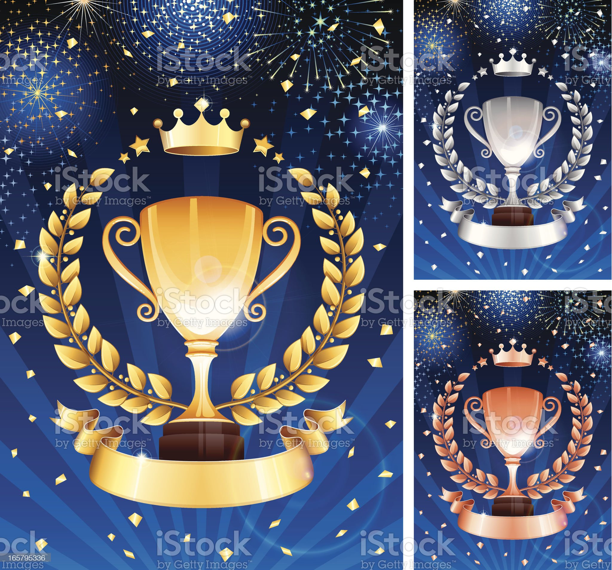 Gold, silver and bronze trophy celebration royalty-free stock vector art