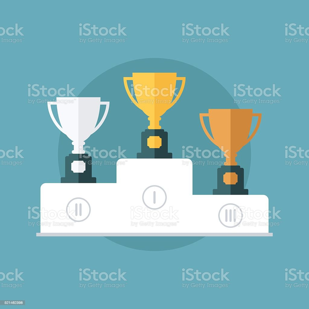 Gold, silver and bronze trophy cup on prize podium. vector art illustration
