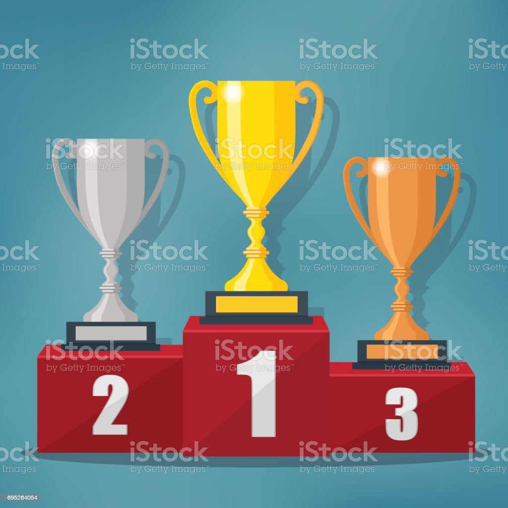 Gold, Silver and Bronze Trophy Cup. vector art illustration