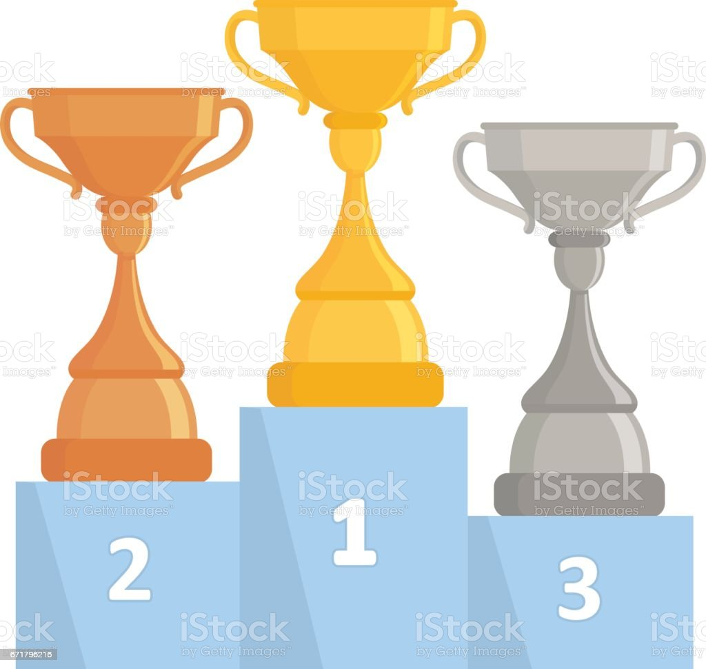 Gold, Silver and Bronze Trophy Cups. Flat design. vector art illustration