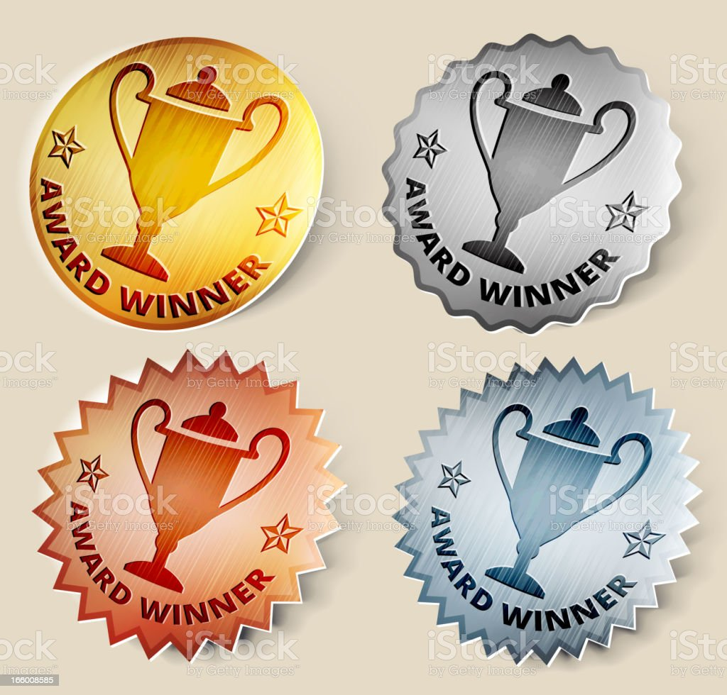 Gold, Silver, and Bronze Trophy Medals royalty-free stock vector art