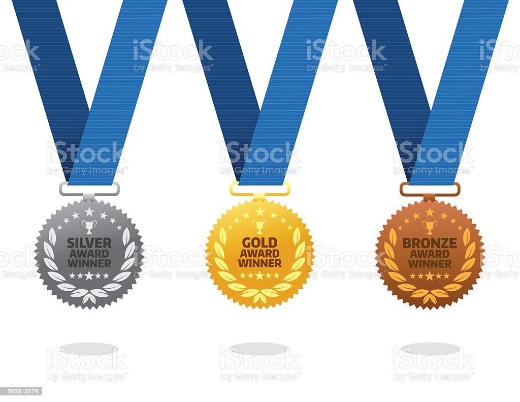 Gold, silver and bronze winner medals vector art illustration