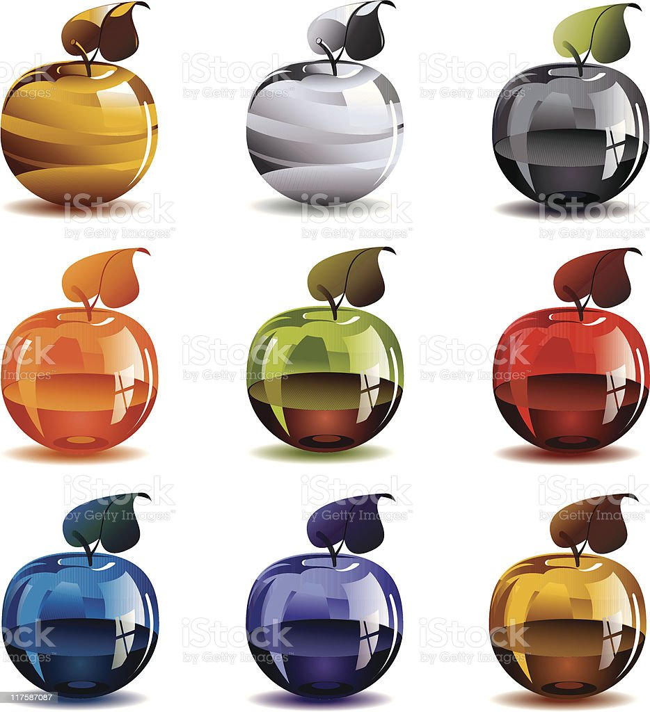 Gold, silver and glass apples. royalty-free stock vector art