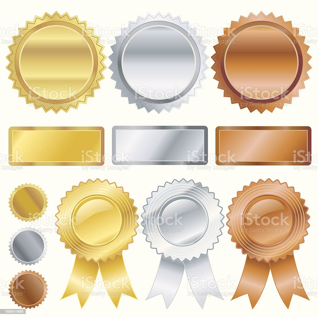 Gold Silver Bronze Emblems vector art illustration