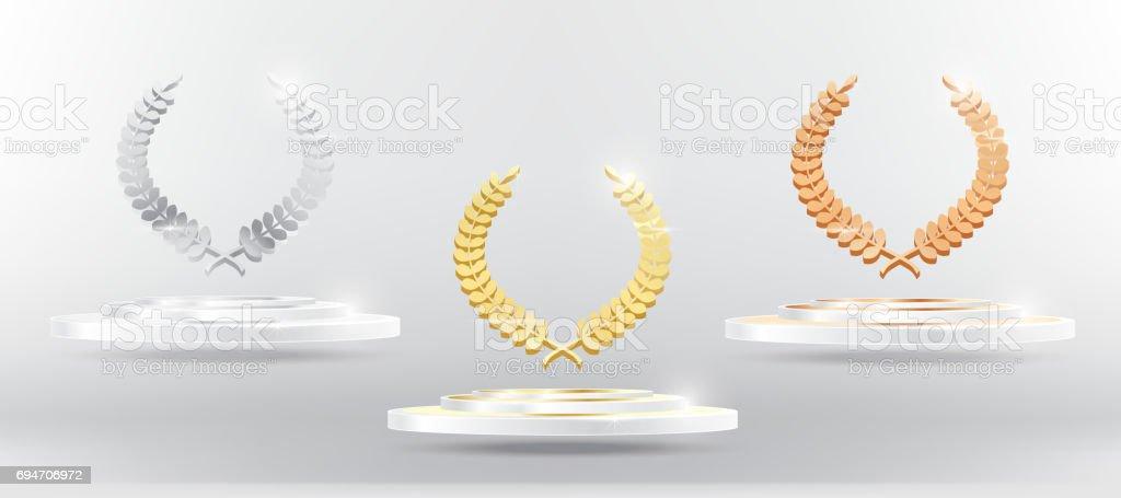 Gold Silver Bronze Laurel Wreath on Platform. vector art illustration