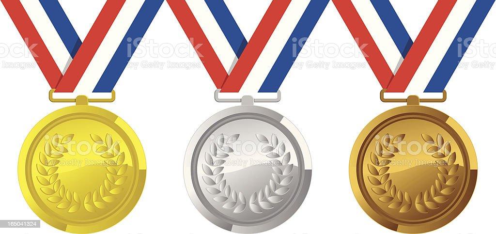 Gold Silver Bronze vector art illustration