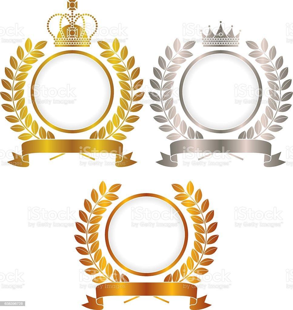 Gold, silver, copper, crown emblem vector art illustration