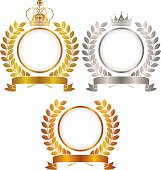 Gold, silver, copper, crown emblem
