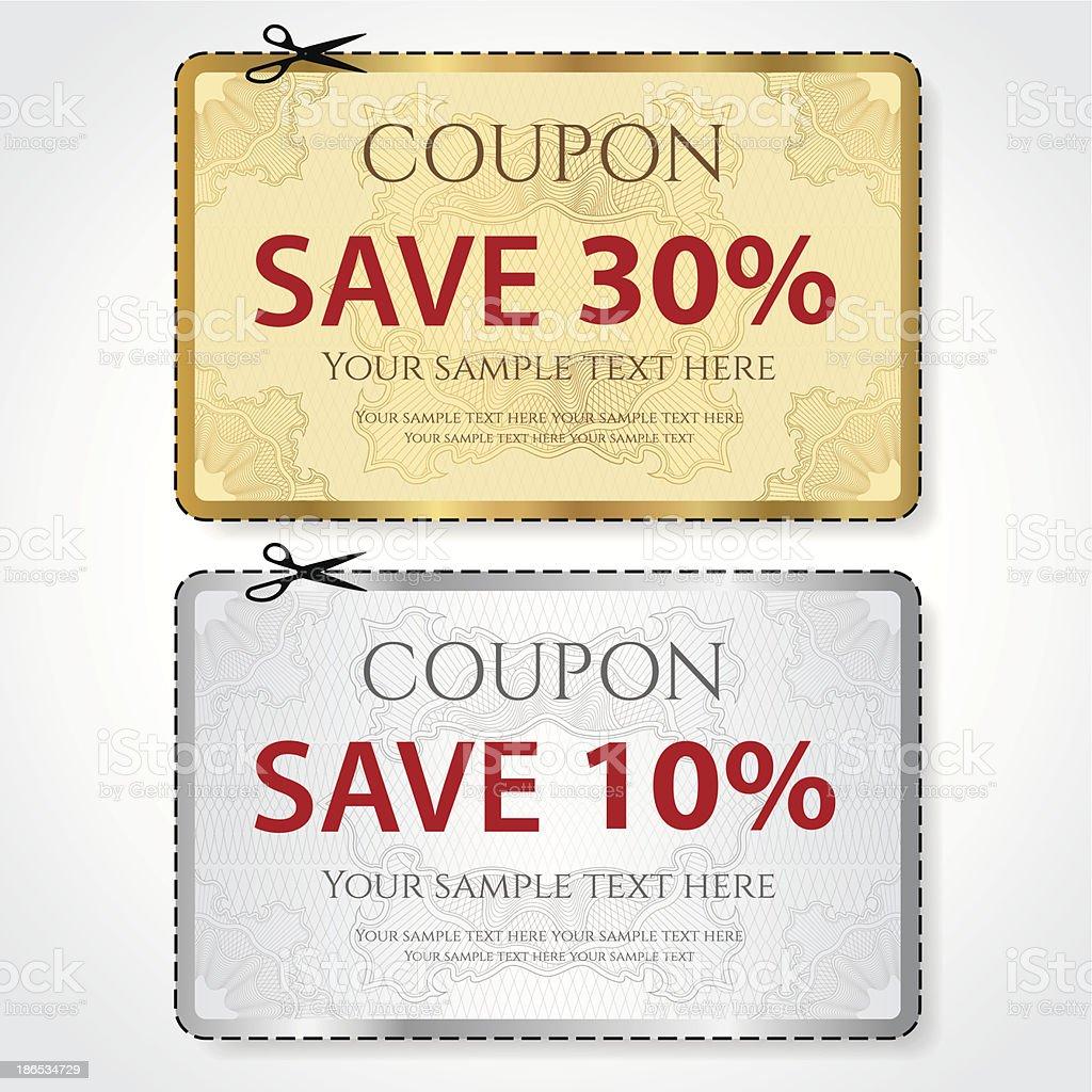 Gold, silver Sale Coupon template. Vector design (guilloche pattern) vector art illustration