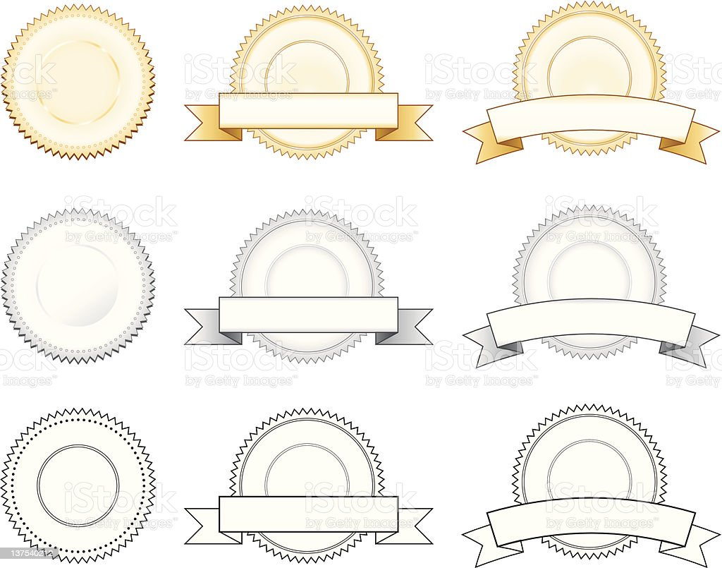 gold/siver badge/seal vector art illustration
