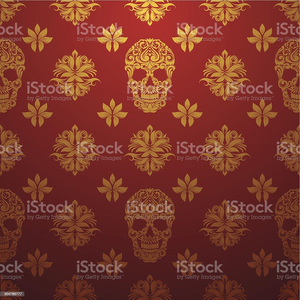 Gold Skull Ornamental Pattern vector art illustration