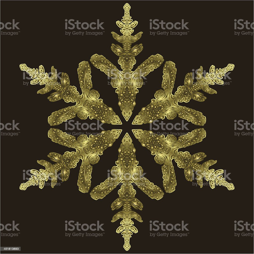 Gold Snowflake On A Dark Background royalty-free stock vector art