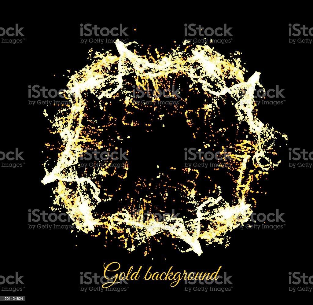 Gold sparkles on black backround vector art illustration