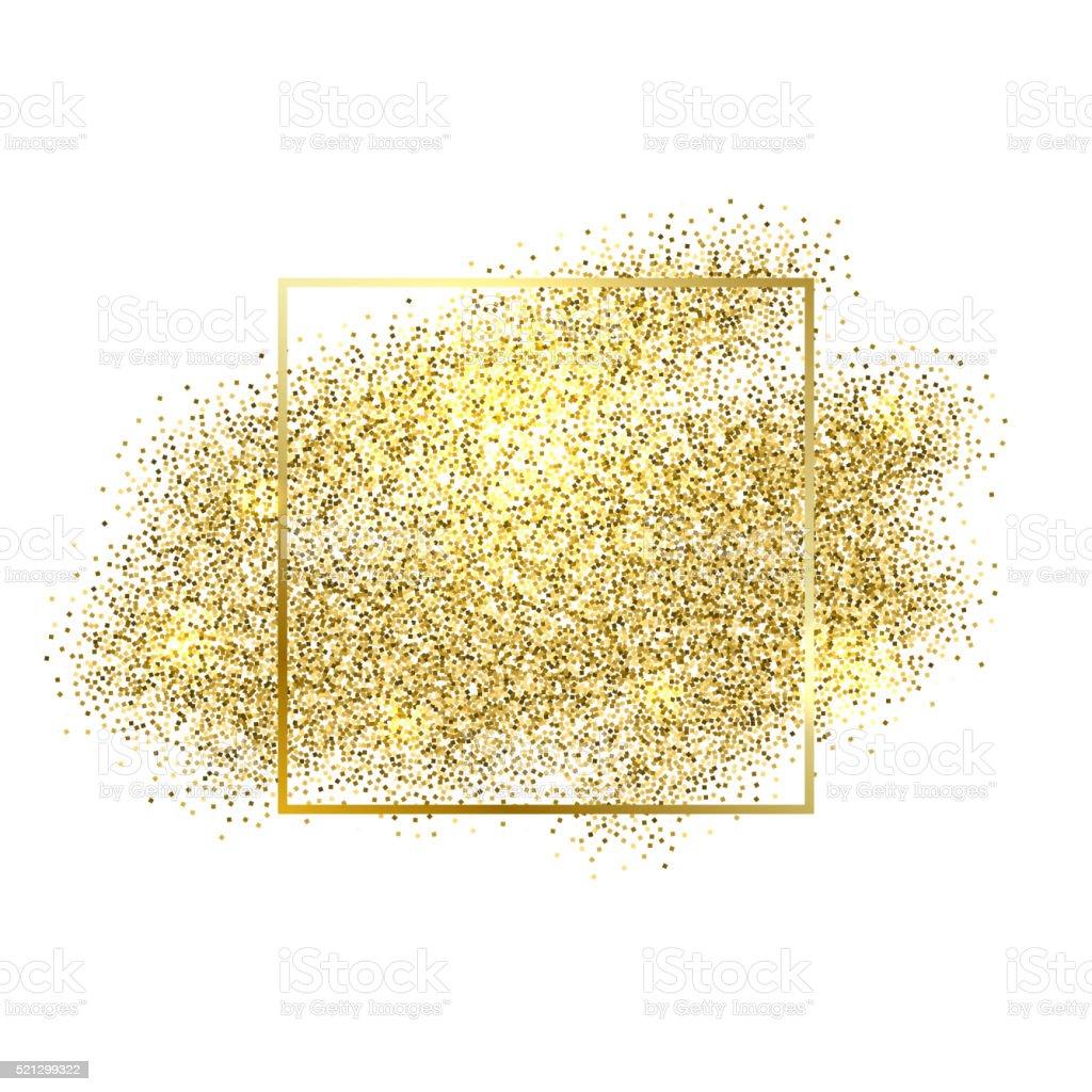Gold sparkles on white background. Golden glitter vector art illustration