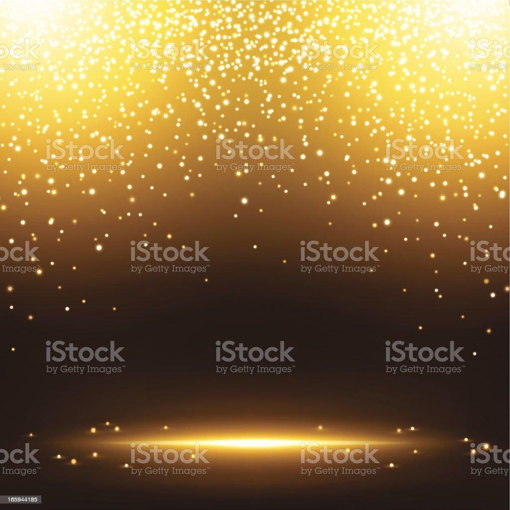Gold sparkles vector art illustration