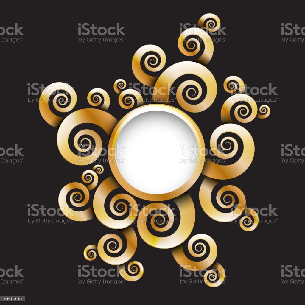 Gold spirals circle banner. Vector illustration. vector art illustration