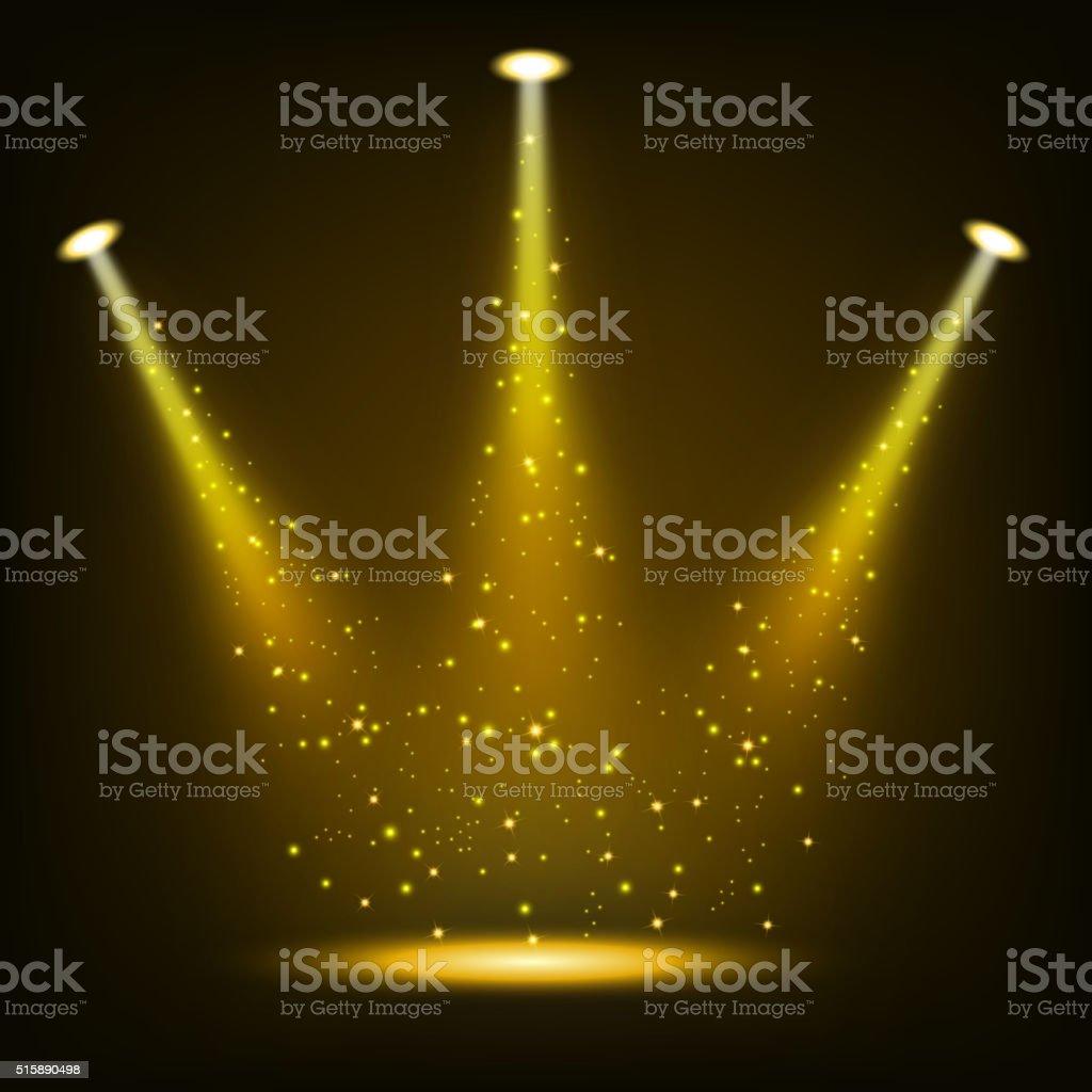 Gold spotlights shining with sprinkles vector art illustration