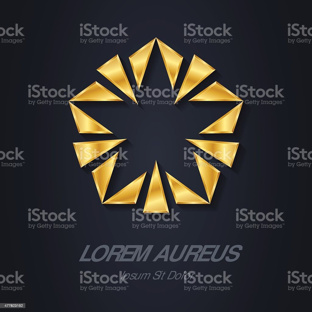 Gold star logo. Award 3d icon. Golden logotype template. vector art illustration