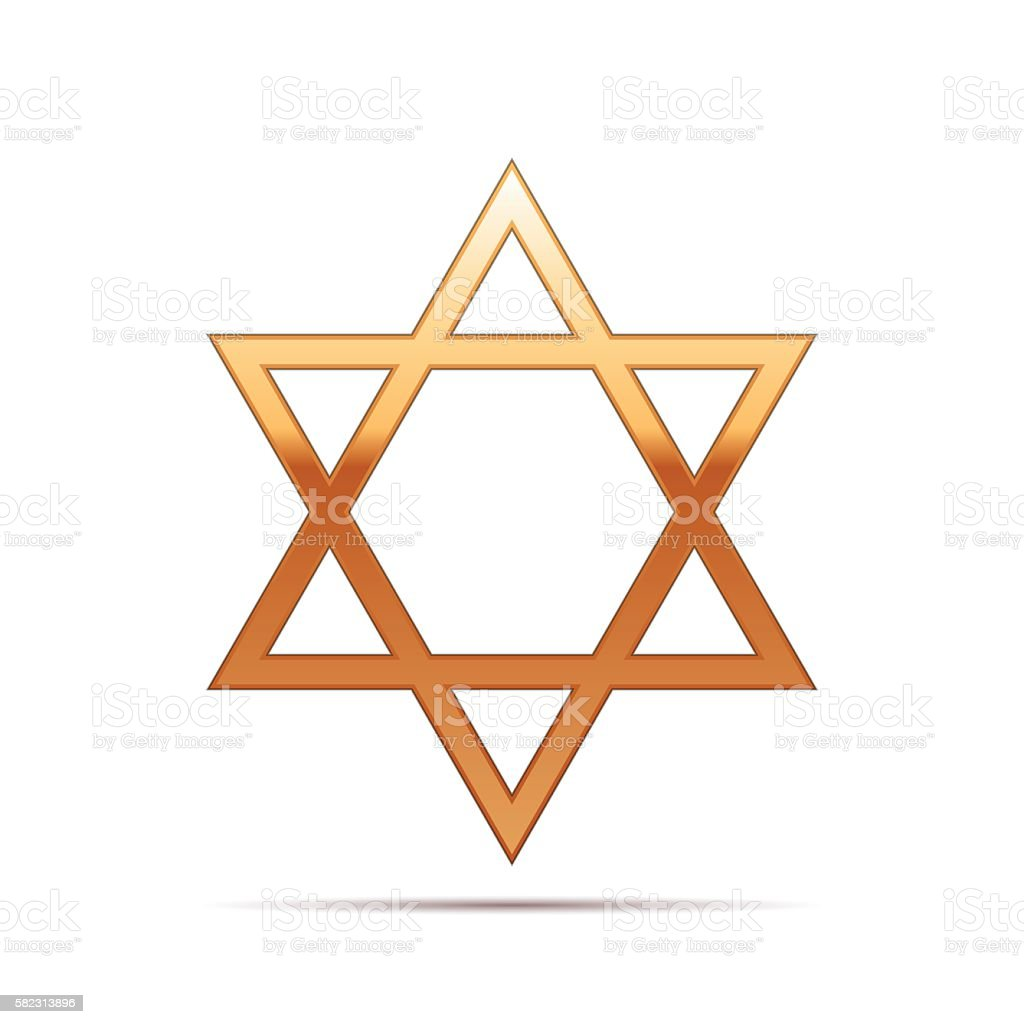 Gold Star of David icon on white background. Vector Illustration vector art illustration